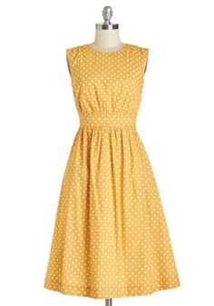 Too Much Fun Dress in Creme Dots - Long. Theres no such thing as overloading on fun, but if it were possible, why not go all-out in this adorable sleeveless dress? #yellow #modcloth
