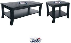 Kansas Jayhawks Table Set includes a coffee table and side table made from select hardwoods with a full color Jayhawks team logo on the table top. University Of Kansas, Philadelphia Phillies, Pittsburgh Steelers, Denver Broncos, Nfl Table, Man Cave Furniture, State Room, Woman Cave