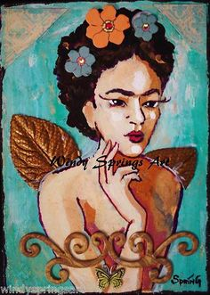 Frida Kahlo Mexican Folk Art Day of the Dead Sugar Skull 6x8 ORIGINAL PAINTING