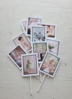 photo cupcake toppers...would be cute for a birthday party too