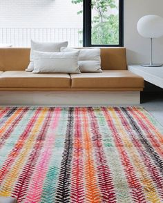 Colorful-Rug-Loom-Old-Yarn-Wheat-Adorable Rug! Colorful. Happy.