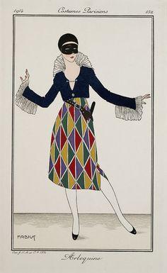 Arlequin - Costumes Parisiens  by Alberto Fabio Lorenzi (Fabius)  in Journal des dames et des modes, 1914