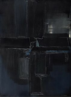 Pierre Soulages, unknown on ArtStack Franz Kline, Black And White Abstract, Black Art, Claude Monet, Contemporary Abstract Art, Modern Art, Abstract Painters, Installation Art, Abstract Expressionism