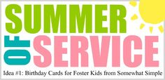 Summer of Service.  Ideas for keeping kids busy during the summer by helping others.  Great idea!!