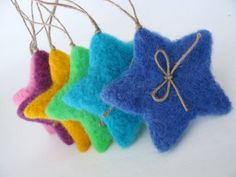 Six Color Fluffy Christmas Stars -Needle Felted - Christmas Decoration. Felt Christmas Decorations, Felt Christmas Ornaments, Handmade Christmas, Christmas Crafts, Christmas Stars, Diy Ornaments, Beaded Ornaments, Blue Christmas, Glass Ornaments