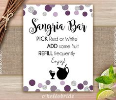 Sangria Bar Sign Purple Plum Gray  Bridal Shower by ohellobride