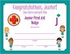 Junior First Aid Badge Certificate