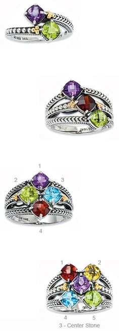 """Silver and 14K """"So Proud"""" Checkerboard Ring - the stones in this ring have a checkerboard pattern - so fun!!"""
