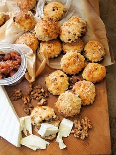 Mini Cheese, Cranberry and Walnut Scones Recipe. Pair with a red wine, such as St. Emilion, Bordeaux, Superieur, or Cote de Blaye.