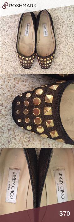 Brown Jimmy Choo flats Brown Jimmy Choo flats with gold stud detailing. tTS. Jimmy Choo Shoes Flats & Loafers