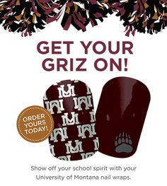 University of Montana nail wraps! Last for weeks! Show your school spirit