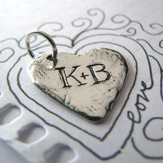 Personalized Custom PMC Fine Silver Rustic Heart Handcarved with Initials. $48.00, via Etsy.