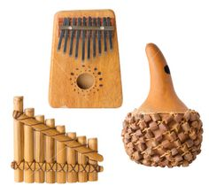 One Gourde and a Pan Flute and an Ethnic Instrument