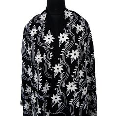"Ibaexports 100% Pure Wool Shawl Chain Stitch Crewel Floral Embroidery Black Pashmina Stole Women Wrap Scarve India 80"" X 28"" Inches IBA. $96.99"