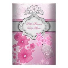 "Elegant Baby Shower Girl Pink Little Princess Crown Tiara ""It's a Girl"" Floral design"