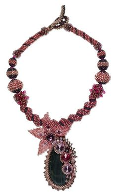 Single-Strand Necklace with Black Agate Focal, Seed Beads and SWAROVSKI ELEMENTS