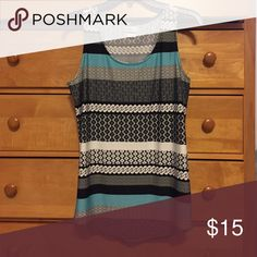 Van Heusen dress tank top Classic black and white, fun prints, teal stripes add a pop of color. Great under a black or white cardigan. Worn once. Van Heusen Tops Tank Tops