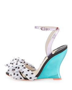 X2UYM Sophia Webster Melissa Polka-Dot Wedge Sandal, Rosa/Spearmint