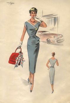 Lovely 1950s era fashion illustration of a sleeveless dress with slim skirt.