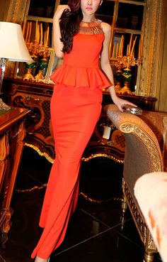 Beaded Neckline Back See-through Mesh Splicing Red Maxi Club Dress