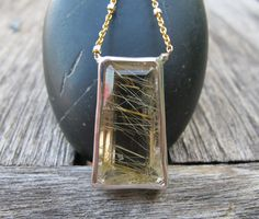 Quartz Statement Necklace Golden Rutilated Quartz Gold por Belesas, $289.99