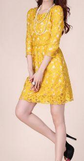 Women's Yellow Lace Dress
