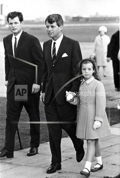 Ted, Bobby an Caroline at the JFK memorial dedication in England.