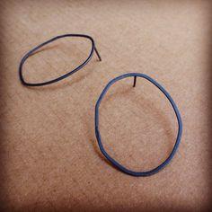 Battered Circle Silver Earrings
