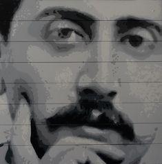 Marcel PROUST 02 (Peinture), 41x40,5x2 cm par Olivier CARPENT Pochoir entièrement découpé à la main & peint à la bombe aérosol (8 nuances de gris) sur des lattes de bois (store).