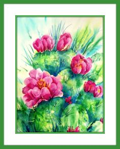 Watercolor of Cactus and Pink Flowers by MarthaKislingArt on Etsy