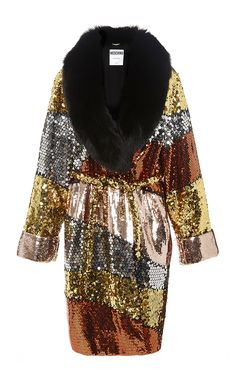 Color Block Sequinned Coat With Fur Collar by MOSCHINO
