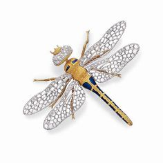 A DIAMOND, GOLD AND ENAMEL DRAGONFLY BROOCH, BY BUCCELLATI