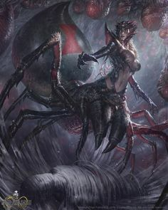 Black Widow by BillCreative Mobius Final Fantasy female drider elf spider hybrid queen sorcerer wizard warlock sorceress witch npc monster beast creature animal | Create your own roleplaying game material w/ RPG Bard: www.rpgbard.com | Writing inspiration for Dungeons and Dragons DND D&D Pathfinder PFRPG Warhammer 40k Star Wars Shadowrun Call of Cthulhu Lord of the Rings LoTR + d20 fantasy science fiction scifi horror design | Not Trusty Sword art: click artwork for source