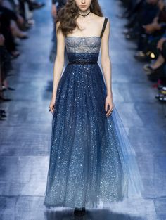 Beautiful sea blue dress. It's like a starry night!