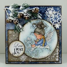 Featuring 'Lullaby' from Wee Stamps.  #WeeStamps #WhimsyStamps #crafts #cards #DIY #handmadecard #cardmaking #rubberstamping #promarkers #paperflowers #christmas #winter