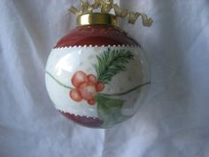Ornament Red Berries and Holly Christmas ball by PorcelainChinaArt