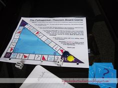 This fun board game is a great way to to have student actively practice using the Pythagorean Theorem.         The rules are printed right o...