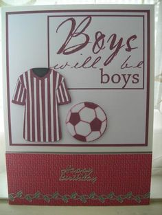 Boys Will Be Boys Football on Craftsuprint designed by Dawn Hill - made by Diane Greenwood - I cut out the shirt and football and added these to the main image, then mounted this onto a card blank. I added a matching coloured backing paper to the bottom of the card and finished off with a peeloff birthday greeting and referees whistle border. - Now available for download!