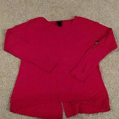 Ann Taylor red sweater Red sweater with a cute little slit in the back. Great sweater for Christmas! Ann Taylor Sweaters Crew & Scoop Necks