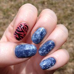 plastic wrap mani -- acid washed jeans nails