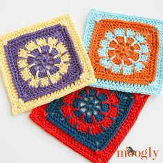 """The Fates Square is a fun 6"""" afghan square - you can mix and match it with other squares, make a blanket with as many Fates Squares as you like, use it to make a tote - whatever strikes your fancy!"""