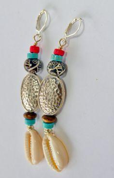 Silver Cowrie Shell Dangle Earrings Tribal by ZenCustomJewelry, $18.00
