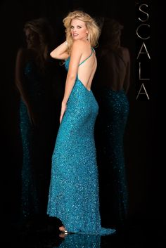 #SCALA Spring 2016 style 47551 Turquoise! #scalausa #spring2016 #prom2016 #gown #promdress #eveningwear #dress #sequins #specialoccasion #prom2k16 www.scalausa.com