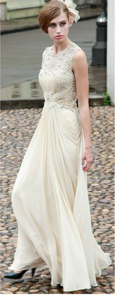 Ivory /  Cream Lace Sequin Rhinestone Chiffon Gown , Wedding Reception Formal Prom Evening Maxi Dress