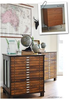Transformed laminate bedside tables into antique-style map drawers | The Painted Hive