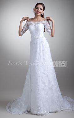 Amazing Half Short Sleeve Satin Lace A Line Off the Shoulder Wedding Dress  #DorisWedding #lace #wedding #dresses #beautiful #wedding #dresses #affordable #wedding #dresses #wedding #dress #styles #unique #wedding #dresses