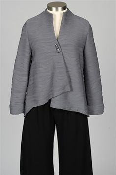fe79d18785a8 I.C. Collection - Single Button Wave Jacket - Charcoal