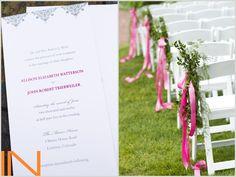 Pink and grey wedding ceremony details