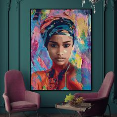 This stunning abstract vibrant feminine art print immediately caught our attention. Some of the comments used to describe this quality canvas print have included colorful, absolutely gorgeous, and unrealistically beautiful.of course, we agree! L'art Du Portrait, Female Portrait, Female Art, Portraits, Black Women Art, Black Art, Contemporary Museum, Contemporary Paintings, Nature Illustration