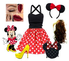 """Halloween costume: Minnie Mouse"" by cat5862 ❤ liked on Polyvore featuring Disney, Loungefly, TaylorSays, women's clothing, women's fashion, women, female, woman, misses and juniors"